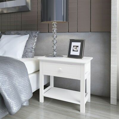 Wood Bedside Cabinet Table Night Stand End Storage Table with 1 Drawer Bedroom
