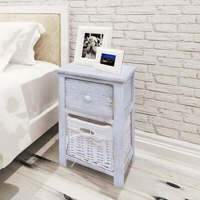 Wooden Shabby Chic Bedside Cabinet Table Night Stand with 1 Drawer 1 Basket