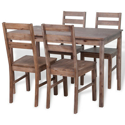 vidaXL Five Piece Dining Set 1 Table 4 Chairs Kitchen Home Solid Acacia Wood