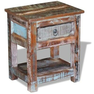 vidaXL Side Table Nightstand with 1 Drawer Solid Reclaimed Wood 43x33x51 cm