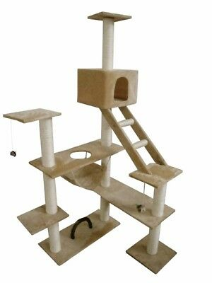 New Cat Play Tree Scratcher Post Toy Bed Tower Furniture 184 cm Soft Plush Beige