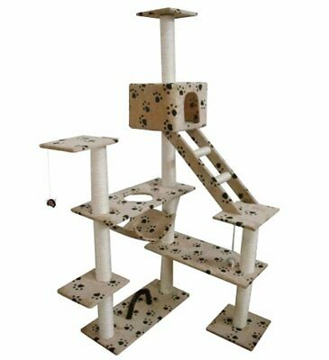 New Cat Play Tree Scratcher Post Toy Bed Tower 184 cm Soft Plush Beige Pawprint