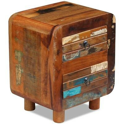 vidaXL Night Cabinet Storage Table Bedside Stand Solid Reclaimed Wood 43x33x51cm