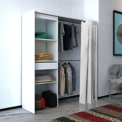 Cloth Cabinet Storage Wardrobe with Curtain Adjustable in Width 121-168 cm White
