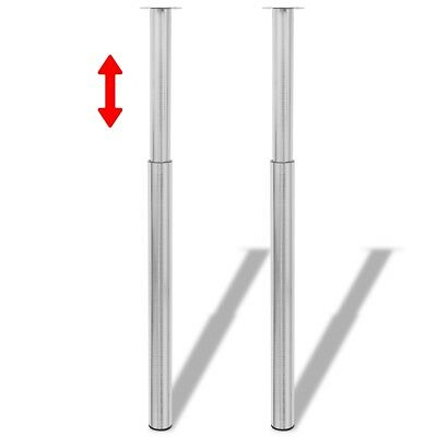 2 Telescopic Table Leg Feet Brushed Nickel 710-1100mm Breakfast Bar Worktop Desk
