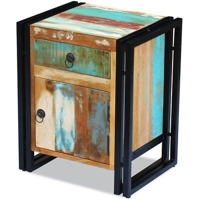 Bedside Table Cabinet Storage Cupboard Solid Reclaimed Recycled Wood Living Room