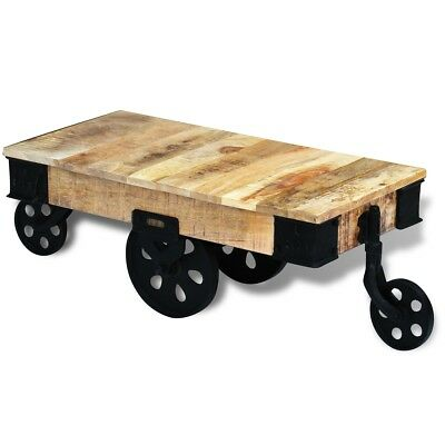 Coffee Couch Side Table Desk Stand with Wheels/Castors Rough Mango Wood Handmade