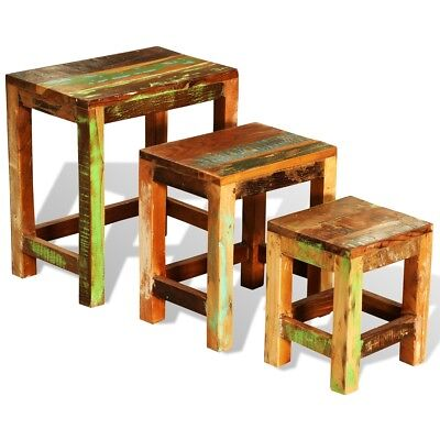 NEW Reclaimed Solid Wood Set of 3 Nesting Tables Vintage Antique-style Handmade