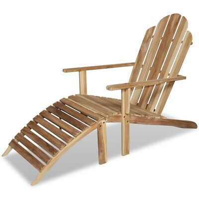 Teak Adirondack Wooden Chair Seat with Armrests Backrest Patio Outdoor Furniture
