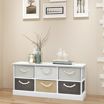 Wood Hall Entryway Storage Bench Cabinet Chest Free Standing with 6 Drawers
