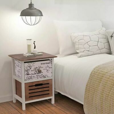 2 pcs Wood Bedside Cabinet Table Night Stand End Storage Table 2 Drawers Bedroom