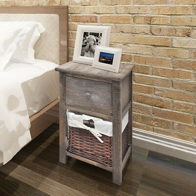 2 pcs Wooden Shabby Chic Bedside Cabinet Table Night Stand w/ 1 Drawer 1 Basket