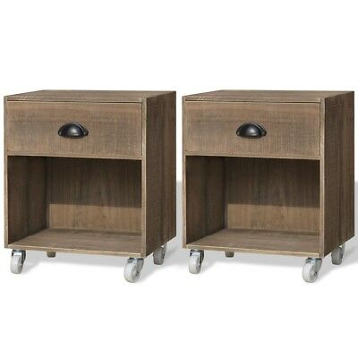 2 Nightstand Bedside Cabinet Telephone Stand End Table with Drawer Solid Wood