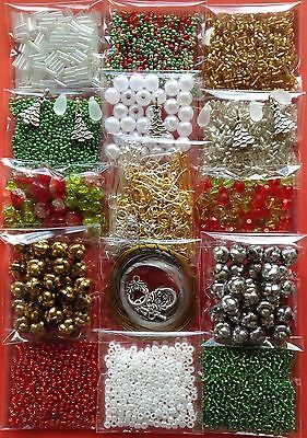 Xmas Jewellery Making Kit Bulk 15 Lots Craft Bead Findings Christmas Colours