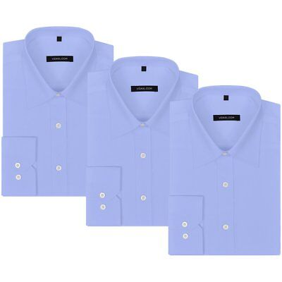 vidaXL 3 pcs Men's Business Shirts Work Formal Casual Dress Size XL Light Blue