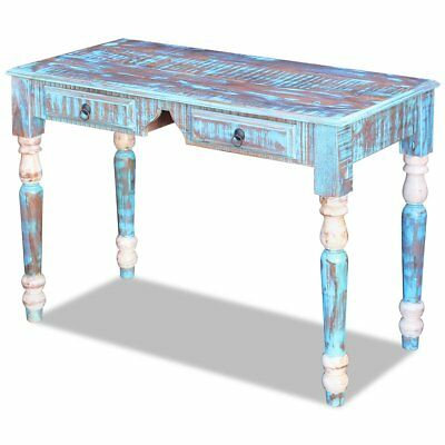 Solid Reclaimed Recycled Wood Rustic Desk Table Handmade 2 Drawers 110x50x76 cm