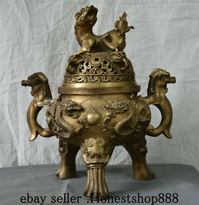 """17"""" Chinese Palace Brass Beast Dragon Foo Dogs Lion Censer Incense Burner Statue"""