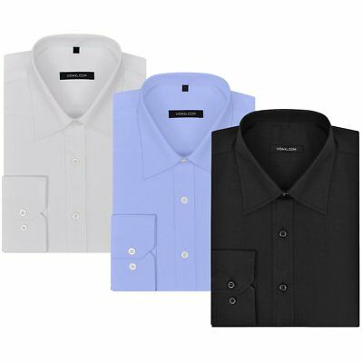 vidaXL 3 pcs Men's Business Shirts Work Casual Size S White/Black/Light Blue