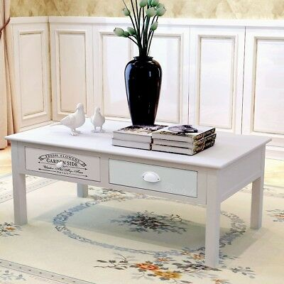 Shabby Chic French Coffee Table Side Table Console Desk Stand with 2 Drawers
