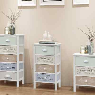 Wood Shabby Chic French Storage Cabinet Cupboard Hall Side Chest with 4 Drawers