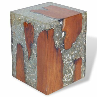 vidaXL Stool Seat/Footrest/Side Table Furniture Home Teak Resin 30x30x40 cm
