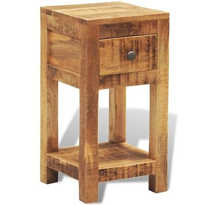 New Solid Wood Display Side Table Nightstand 1 Drawer Livingroom Square Durable