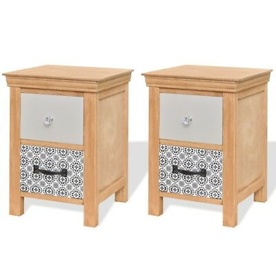 2 Drawer Cabinets Bedside End Table Telephone Nightstand 34x34x46 cm Solid Wood