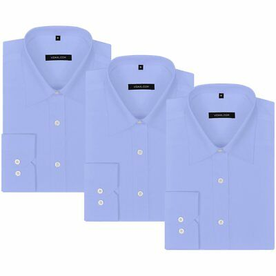 vidaXL 3 pcs Men's Business Shirts Work Formal Casual Dress Size M Light Blue