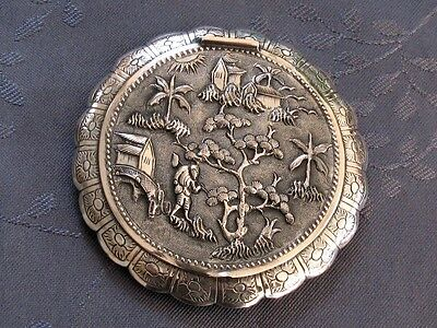 Solid Silver Xix° Chinese Export Silver Dragon Powder Compact