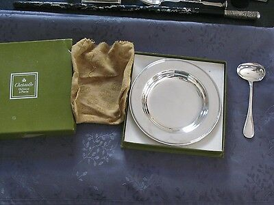 Christofle Plate Baptism And Fishing Lure New Silver Metal