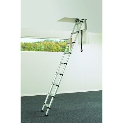 New Wide Tread Telesteps Black Line Mini Loft Ladder 2.45 m Telescopic Ladder