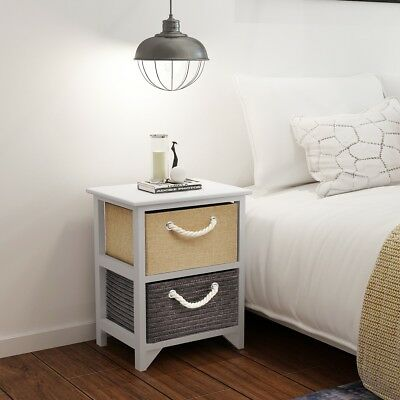 2 pcs Wood Bedside Cabinet Storage Table Nightstand Bedroom End Telephone Stand