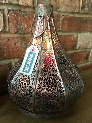 New Antique Copper Moroccan Home Garden Hanging Candle Large Lantern Holder 32cm