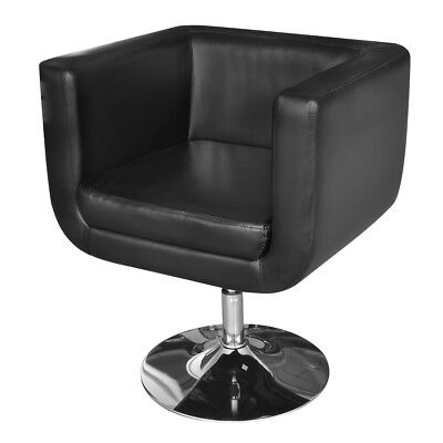 New Adjustable Black Artificial Leather Armchair Wooden Upholstery Steel Base