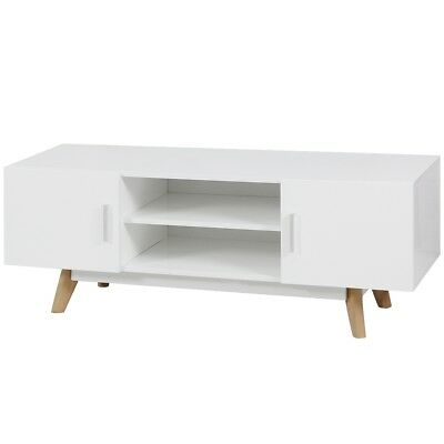 MDF High Gloss TV Cabinet Unit Stand with 2 Doors 2 Open Shelves Living Room