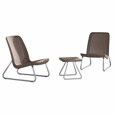Keter Three Piece Patio Furniture Set Table Chairs Rio Cappucino 17197637