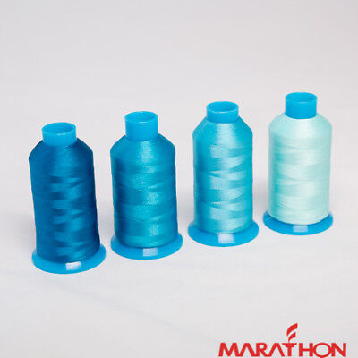 Marathon Polyester Embroidery machine thread: Turquoise Blues  4 x 1,000m