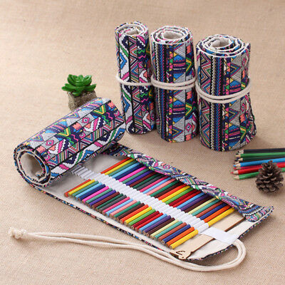 Colored Arts Painting Drawing Pencil Case Ethnic Roll Up Case Holder Storage