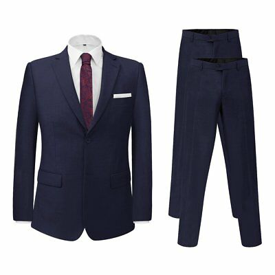 Men's 2 Piece Business Suit with Extra Pants Smart Jacket Trousers Navy Size 56