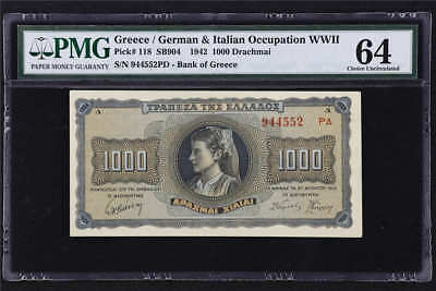 1942 Greece Occupation WWII 1000 Drachmai Pick#118 PMG 64 Choice UNC