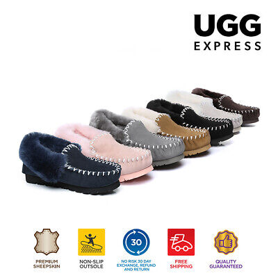 UGG AS*POPO Unisex Australian Sheepskin Moccasins Slippers Double Sole Non-Slip