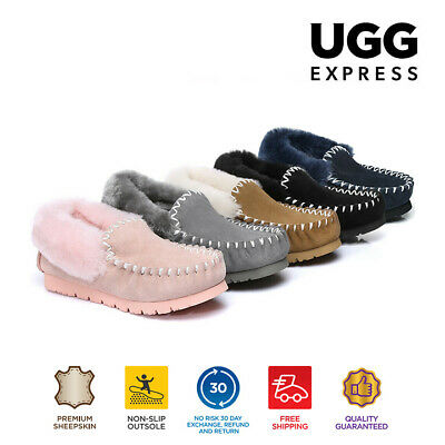 UGG Sheepskin Moccasins Unisex Slippers,Genuine Australian Sheepskin