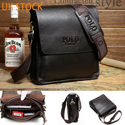 Men Genuine Leather Business Handbag shoulder  black dark brown Crossbody bag UK