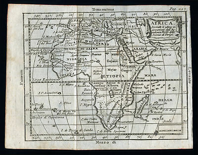 old and original engraved MAP-AFRICA 18 Th.