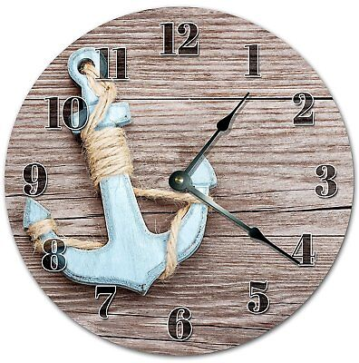 "10.5"" OLD METAL ANCHOR ON BOARD CLOCK - Large 10.5"" Wall Clock - Home Décor 4059"