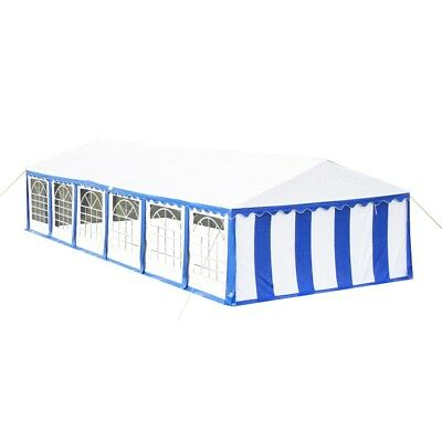 New Gazebo Party Tent Canopy Marquee Blue White Stripes 6 X 12 M Windows