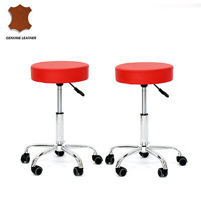 Set of 2 Round Leather Bar Stools Swivel Height Adjustable Bar Stool, Black /Red