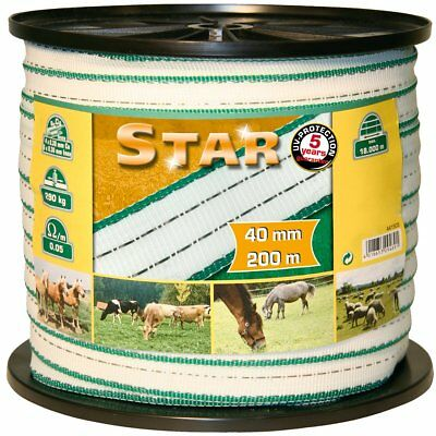Kerbl Electric Livestock Fence Rope Tape UV Protection PE 200m 40mm Star 441503