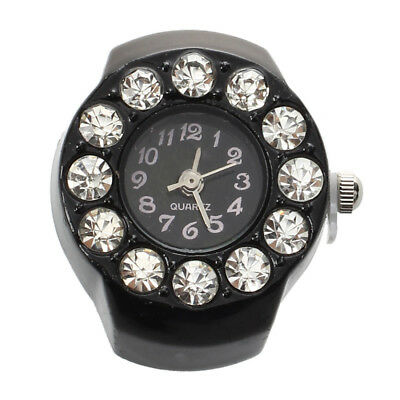 """PF Stretchy Women Round Crystal Finger Ring Watch 0.83"""" HOT"""