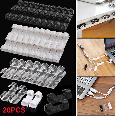 20pcs Adhesive Cable Organizer Plastic Cord Clip Self-adhesive Wire Line Buckle